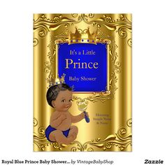 Royal Blue Prince Baby Shower Gold Crown Ethnic 5x7 Paper Invitation Card