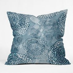 Julia Da Rocha Watercolor Azul Throw Pillow #navy #pink #color #bold #home #decor