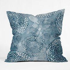 Julia Da Rocha Watercolor Azul Throw Pillow #navy #pink #color #bold #home #decor