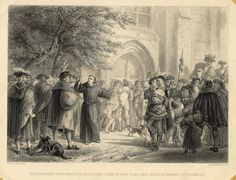 """500 - Post It! - Share Your Reformation Events and Resources:  """"The indulgences, or the ninety-five propositions (scene in front of All Saints Church, Wittenberg) 31st October, 1517."""" Engraved by Aug Blanchord. ELCA Archives."""