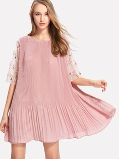 Flower Applique Mesh Sleeve Pleated Dress -SheIn(Sheinside)