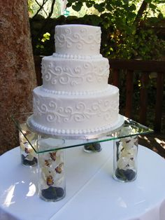 """This 3 tier butter cream cake is """"wedding cake"""" is a unique way to display your cake. Wedding Cake Display, Cake Stand Display, 3 Tier Wedding Cakes, Wedding Cake Flavors, Wedding Cake Stands, Unique Wedding Cakes, Beautiful Wedding Cakes, Wedding Cake Designs, Beautiful Cakes"""