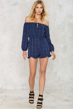 Glamorous Ariana Off-the-Shoulder Romper - Clothes | Rompers + Jumpsuits | Stripes