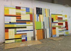 Studio shot of Lloyd Martin's Mettere paintings