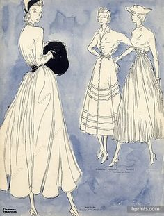 Bruyere 1948 Dresses, Facon Marrec, Fashion Illustration
