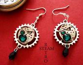 Movimento orologio Vintage Smeraldo Swarovski Steampunk Orecchini - Gioielli Steampunk by Steamretro : Orecchini di steamretro-italia