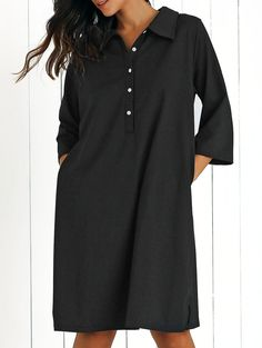 Shirt Collar Loose Fitting 3/4 Sleeve Dress