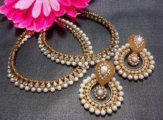 White pearl golden anklet and pearl polki earrings