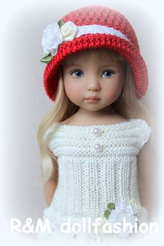 "R&M DOLLFASHION ROMANTIC handknit set OOAK for Effner LITTLE DARLING 13"" doll"