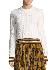 Alpha+Crewneck+Cable-Knit+Sweater+by+A.L.C.+at+Neiman+Marcus.