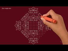 Simple Lotus Rangoli with dots Rangoli Designs Simple Diwali, Rangoli Designs With Dots, Beautiful Rangoli Designs, Kolam Designs, Hand Designs, Simple Designs, Lotus Rangoli, Indian Rangoli, New Year Rangoli