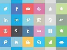 24 Flat Social Media Icons Vector Pack - http://www.dawnbrushes.com/24-flat-social-media-icons-vector-pack-2/