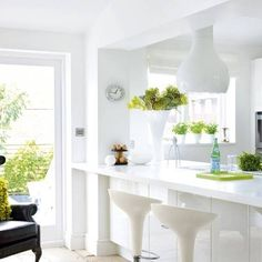 Stunning White Kitchen Bar Design For Small Areas With Modern Stools