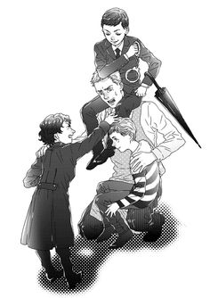 Wonderful piece of fanart by Pukun on tumblr.  Mycroft and the kids...