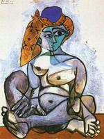 Пабло Пикассо. Обнаженная Жаклин в турецком головном уборе, 1955 год