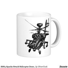 AH64 Apache Attack Helicopter Drawing Basic White Mug