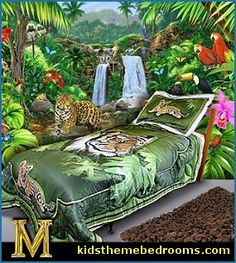 Tiger Wildlife Twin Bedding Set Rainforest Bedrooms. Jungle Themed Bedding  Ideas