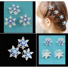 Costume wig HP11 5pcs/lot  STU snow hairpins blue for Movies Frozen Snow Queen Elsa Cosplay Costume wig