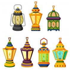 Collection of ramadan candle lantern in low light mode Premium Vector Ramadan Cards, Ramadan Sweets, Ramadan Gifts, Ramadan Poster, Ramadan Lantern, Ramadan Activities, Islamic Cartoon, Ramadan Decorations, Holiday Crafts For Kids