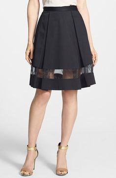 Vince Camuto Sheer Inset Pleated Skirt available at #Nordstrom