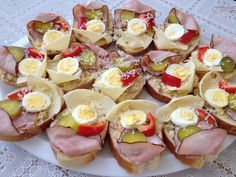 Open-Faced Sandwiches – Chlebíčky – Czech Cookbook – Video Recipes in English – US Measurements – US Ingredients Sweet And Sour Cabbage, Prague Food, Snack Platter, Open Faced Sandwich, Czech Recipes, English Food, Polish Recipes, Fun Cooking, Gourmet