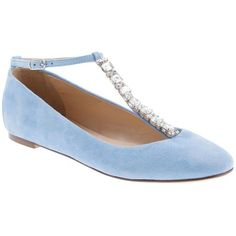 J.Crew Collection jeweled T-strap ballet flats ($160) ❤ liked on Polyvore