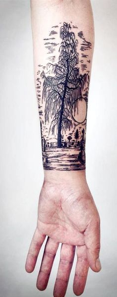 Linework Landscape And Nature Tattoos To Celebrate Your Untameable Spirit Great Tattoos, Unique Tattoos, Beautiful Tattoos, New Tattoos, Incredible Tattoos, Bird Tattoos, Feather Tattoos, Tatoos, Doodle Tattoo