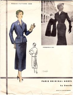 VPO 1232 Jean Desses Skirt & Jacket Suit 1953 Fitted jacket has low double breasted closing below shaped collar. Slot pockets. Back laps over waistline. Long fitted two pieces sleeves with buttoned closing. Slim skirt has godet at back. SzB36H39 complete unprinted sld BO less 85+5.95 8/4/15