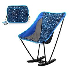 Yahill Portable Ultralight Collapsible Moon Leisure Camping rocker Folding Chair with Carrying Bag for Indoor Outdoor Camping Hiking Travel Hunting FishingBlue -- Check out this great product.