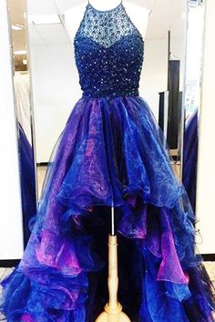 Beaded organza prom dress, high low dress for teens