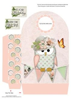 A Little Owl Told Me Large Gift Bag on Craftsuprint designed by Janet Roberts - This gift bag goes with my 'A Little Owl Told Me' mini kit ..... please see the link below - Now available for download!
