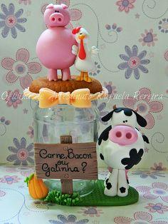 vaca cerdo gallina porcelana fria fimo