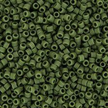 Size 11 Matte Opaque Avocado Green Delica Beads - DB1585
