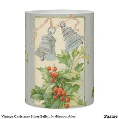 Vintage Christmas Silver Bells & Holly Flameless Candle