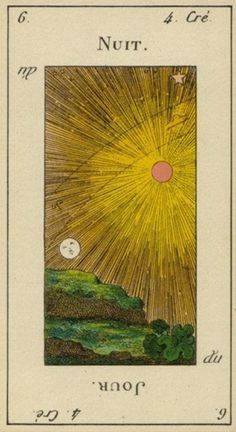 Night /Day. From an early Etteilla tarot deck. Hey! That's the start of my first name! Jour! Daydan! Lol