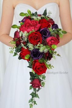 Cascading brides bouquet in red, purple and a touch of hot pink peonies Red Purple Wedding, Burgundy Wedding Flowers, Cascading Wedding Bouquets, Purple Wedding Bouquets, Plum Wedding, Bride Bouquets, Summer Wedding, Wedding Ideas, Budget Bride