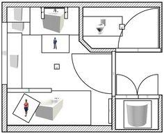 Aménagement d'une salle de bain et de toilettes - Plan réalisée avec le logiciel Sweet Home 3D de l'idée n°2