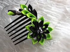 Hair Comb - Lime Green and Black Kanzashi Flower
