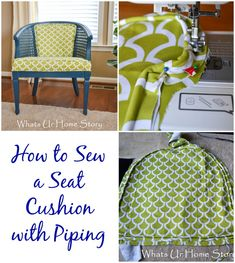 Sewing Cushions How to Sew a Seat Cushion with Piping - How to Sew a Seat Cushion with Piping Furniture Projects, Furniture Makeover, Diy Furniture, Painted Furniture, Redoing Furniture, Reupholster Furniture, Chair Makeover, Sewing Pillows, How To Make Pillows