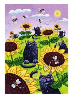 Black Cats Watching Honeybees on Sunflowers Giclee Print by Lisa Berkshire
