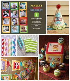 Love invite with monthly photos. Stripes, polka dots & bold colors will set a perfectly playful 1st birthday party