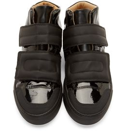 MM6 Maison Margiela Black Leather Mid-Top Sneakers