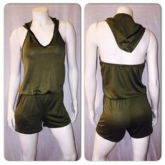New Green And Black Hooded Romper Jumpsuit Size Large