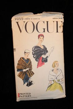 Vintage Vogue Pattern Cape, Shawl, Wrap, Stole #9055 Size Med 14-16 Made in 1957