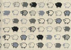 Would be cute for a kid's quilt.  Baa Baa Black Sheep from Kiyohara: $26.40 per yard at Purl Soho.