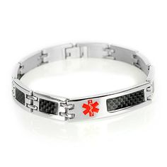 MyIDDr Mens Medical Bracelet Custom Engraving, 316L Carbon Steel Link * Read review @ http://www.amazon.com/gp/product/B014EYI4HS/?tag=splendidjewelry07-20&pmn=270716003017
