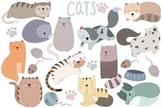 Cute Cats Vector & PNG Design Set by Kenna Sato Designs on @creativemarket