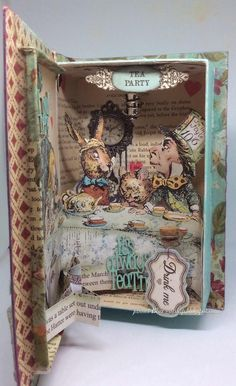 Enchanted Place : Alice In Wonderland Book Alicia Wonderland, Alice In Wonderland Artwork, Alice In Wonderland Crafts, 3d Paper Crafts, Paper Art, Alice Book, Shadow Box Art, Altered Art, Altered Tins