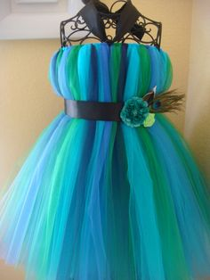 FLOWER GIRL - Peacock multi color tutu dress.. $45.00, via Etsy.