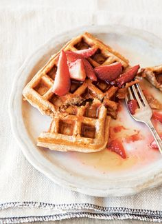Whole-Wheat Waffles with Honeyed Strawberries